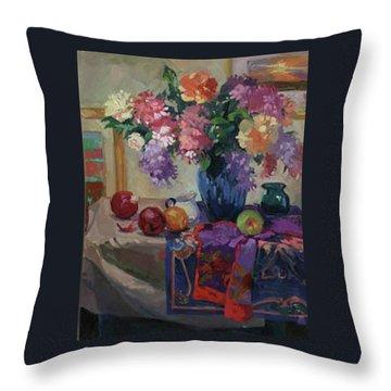 Lilacs And Peonies Throw Pillow