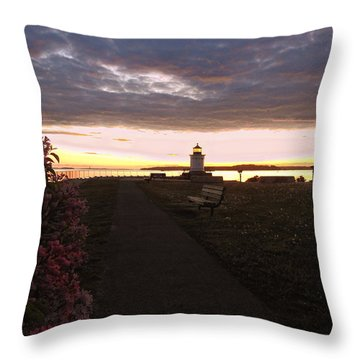 Lilacs At Portland Breakwater Light Throw Pillow