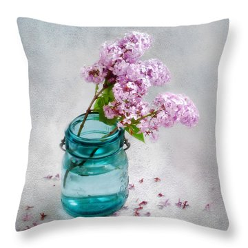 Throw Pillow featuring the photograph Lilacs In A Glass Jar Still Life by Louise Kumpf