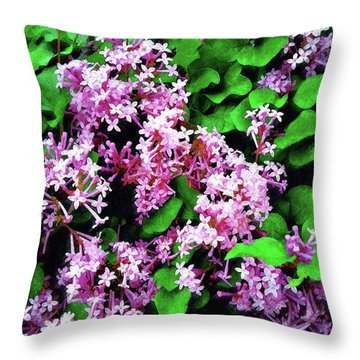 Throw Pillow featuring the painting Lilacs In May by Sandy MacGowan