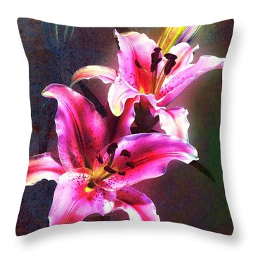Lilies At Night Throw Pillow