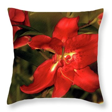 Throw Pillow featuring the mixed media Lilies Before Dusk 14 by Lynda Lehmann