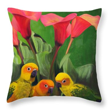 Lilies Grotto  Throw Pillow by Julianne  Ososke
