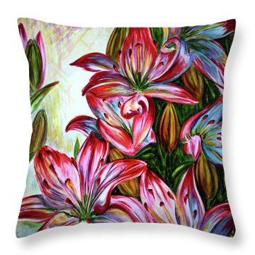 Throw Pillow featuring the painting Lilies by Harsh Malik