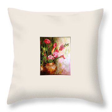 Throw Pillow featuring the painting Lilies In The Pots by Harsh Malik