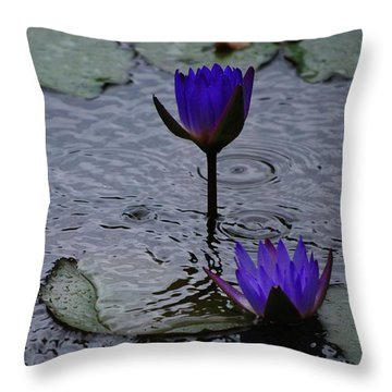 Lilies In The Rain Throw Pillow