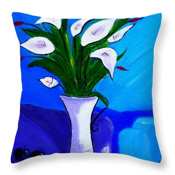 Lilies On My Table Throw Pillow
