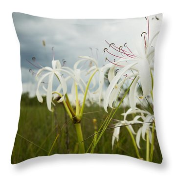 Lilies Thunder Throw Pillow by Christopher L Thomley