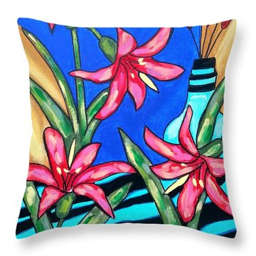 Lilies With A Vase Throw Pillow