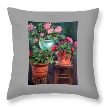 Lil's Geraniums Throw Pillow by Jill Musser