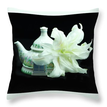Lily And Teapot Throw Pillow