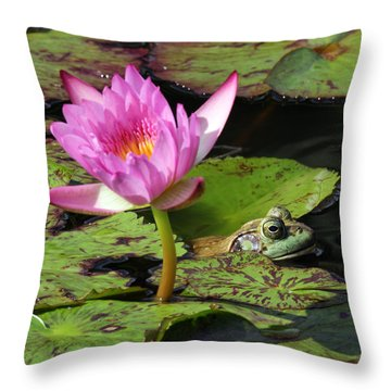 Lily And The Bullfrog Throw Pillow
