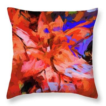 Lily Cobalt Orange Throw Pillow