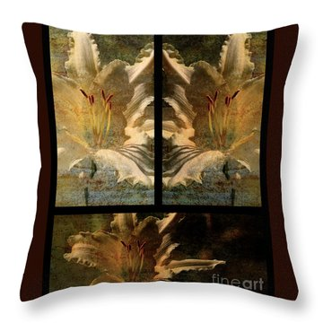 Lily Collage Throw Pillow by Lois Bryan