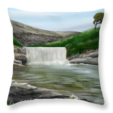 Throw Pillow featuring the digital art Lily Creek by Mark Taylor