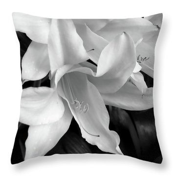 Lily Flowers Black And White Throw Pillow by Jennie Marie Schell