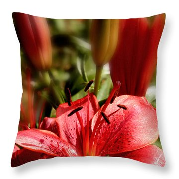 Lily Garden Throw Pillow