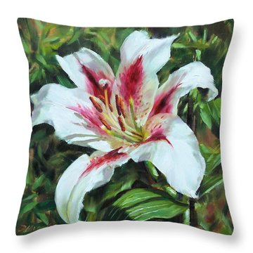 Lily Impression Throw Pillow by Donna Munsch