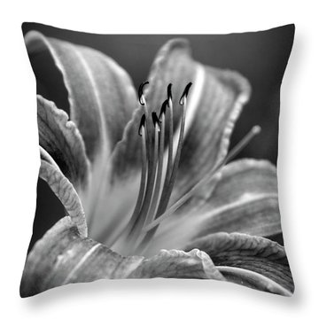 Throw Pillow featuring the photograph Lily In Black And White by Chrystal Mimbs