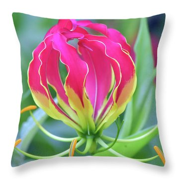 Lily In Flames Throw Pillow