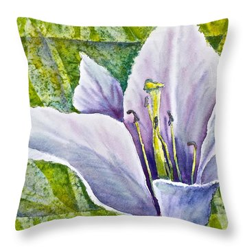 Throw Pillow featuring the painting Lily In Purple by Carolyn Rosenberger