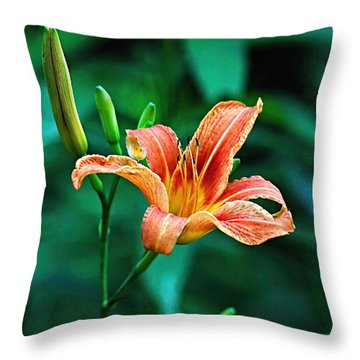 Lily In Woods Throw Pillow