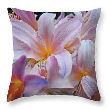 Lily Lavender Closeup Throw Pillow