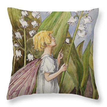 Lily Of The Valley Fairy After Cicely Mary Barker Throw Pillow