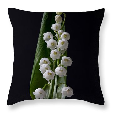 Lily Of The Valley On Black Throw Pillow