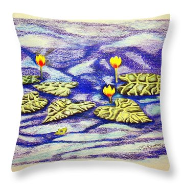 Lily Pad Pond Throw Pillow by J R Seymour