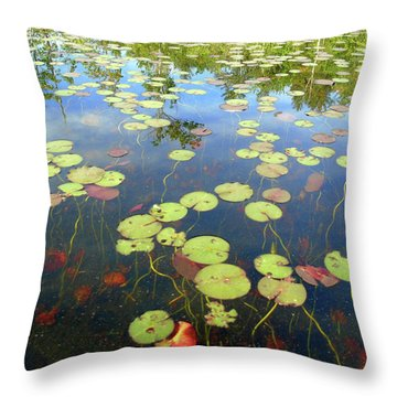 Lily Pads And Reflections Throw Pillow