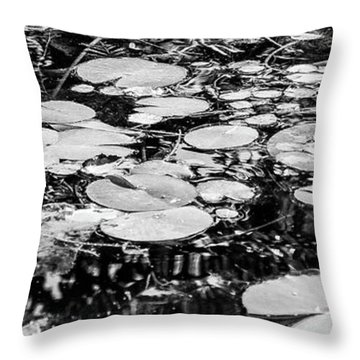 Lily Pads, Black And White Throw Pillow