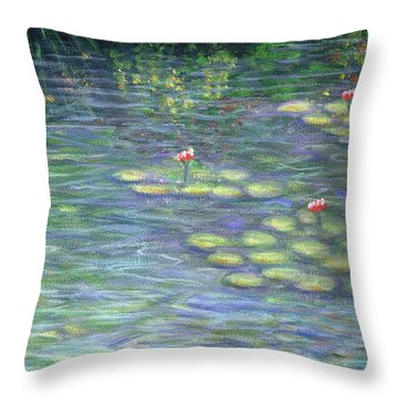 Lily Pads Triptych Part Three Throw Pillow by Linda Mears