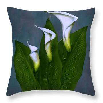 Throw Pillow featuring the painting White Calla Lilies by Peter Piatt