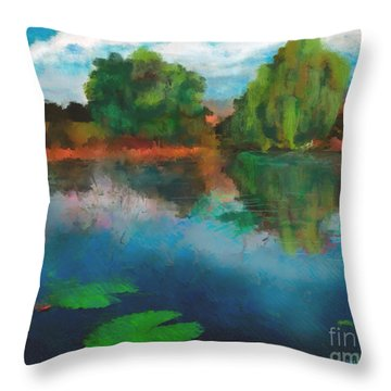 Lily Pond A La Torrie Throw Pillow by Dee Flouton