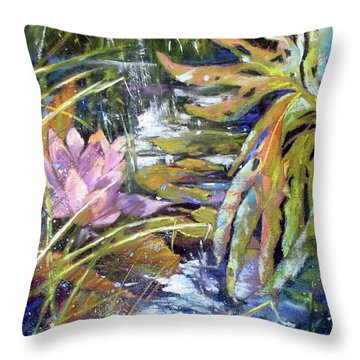 Lily Pond Light Dance Throw Pillow by Rae Andrews