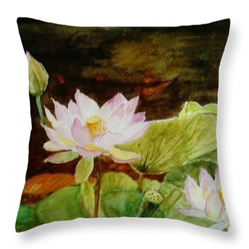 The Lily Pond - Painting  Throw Pillow