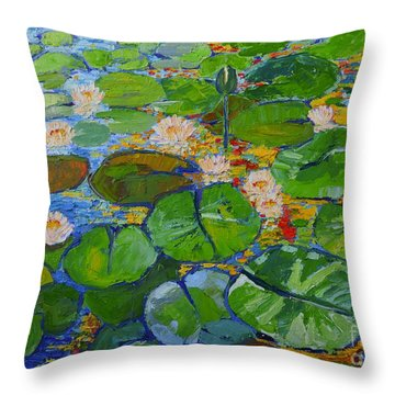 Lily Pond Reflections Throw Pillow by Ana Maria Edulescu