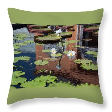 Lily Pond Reflections Throw Pillow by Suzanne Gaff