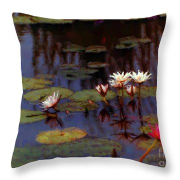 Lily Pond Watercolor Throw Pillow by Fred Jinkins