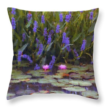 Lily Pond Watercolor Painting Throw Pillow by Fred Jinkins