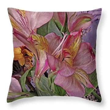 Throw Pillow featuring the mixed media Lily Profusion 7 by Lynda Lehmann