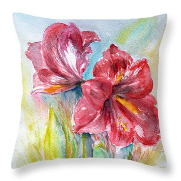 Lily Red Throw Pillow by Jasna Dragun