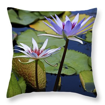 Throw Pillow featuring the photograph Lily Trio by Judy Vincent