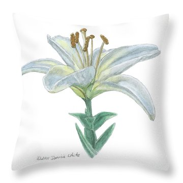 Lily Watercolor Throw Pillow