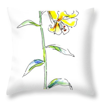 Lily Watercolor Painting 2 Throw Pillow