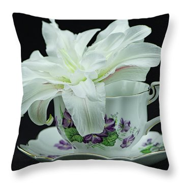 Lily With Teacup Throw Pillow