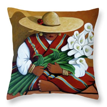 Lily Woman Throw Pillow