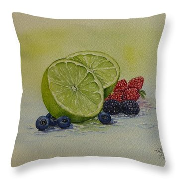 Lime And Berries Throw Pillow