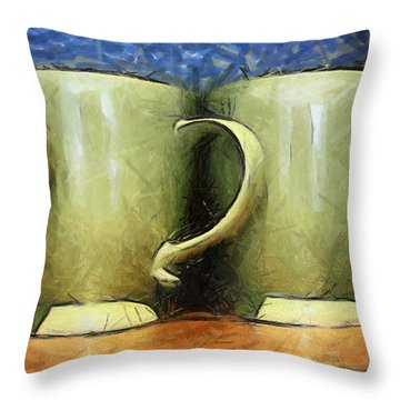Lime Green Cups Throw Pillow by Paulette B Wright